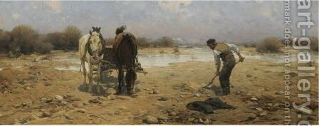 The Sand Digger by Alfred Wierusz-Kowalski - Reproduction Oil Painting