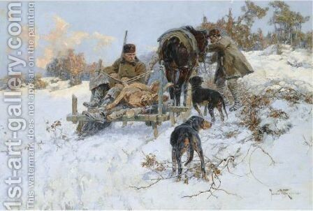 After The Hunt by Jaroslav Friedrich Julius Vesin - Reproduction Oil Painting