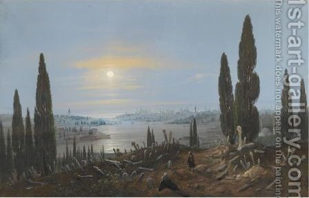 View Of Constantinople By Moonlight From Eyup by Carlo Bossoli - Reproduction Oil Painting