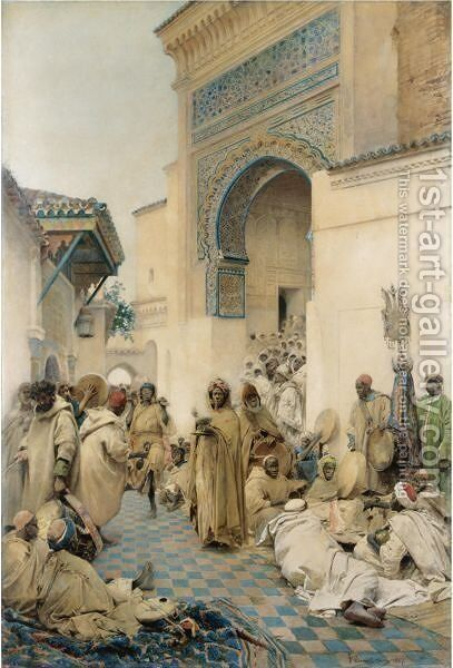African Figures Dancing In A Courtyard by Gaetano de Martini - Reproduction Oil Painting