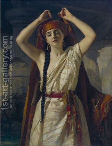 An Egyptian Girl Preparing For A Bath by Henri Guillaume Schlesinger - Reproduction Oil Painting