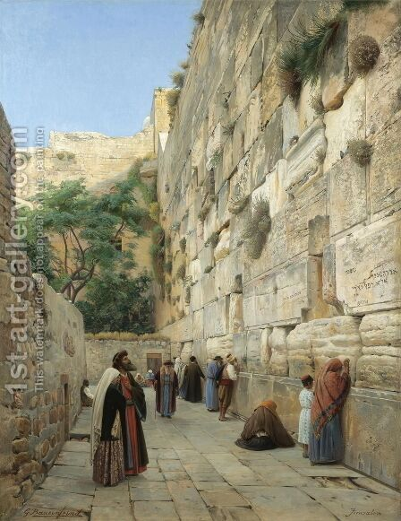The Wailing Wall, Jerusalem 2 by Gustave Bauernfeind - Reproduction Oil Painting