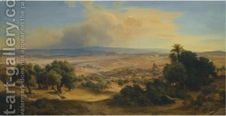 Landscape With Ancient Ruins by August Loffler - Reproduction Oil Painting