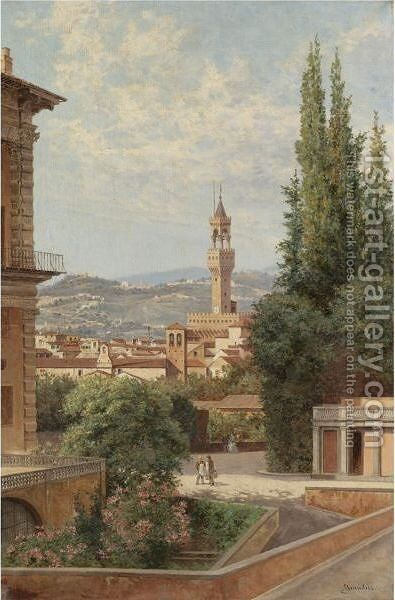 Florence, View Of The Palazzo Vecchio With Fiesole In The Distance by Antonietta Brandeis - Reproduction Oil Painting
