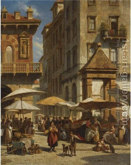 Piazza Delle Erbe, Verona 2 by Jacques Carabain - Reproduction Oil Painting