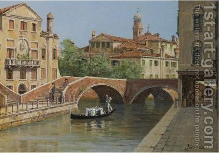 A Venetian Bridge by Antonietta Brandeis - Reproduction Oil Painting