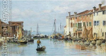 A Venetian Bay by Antonietta Brandeis - Reproduction Oil Painting