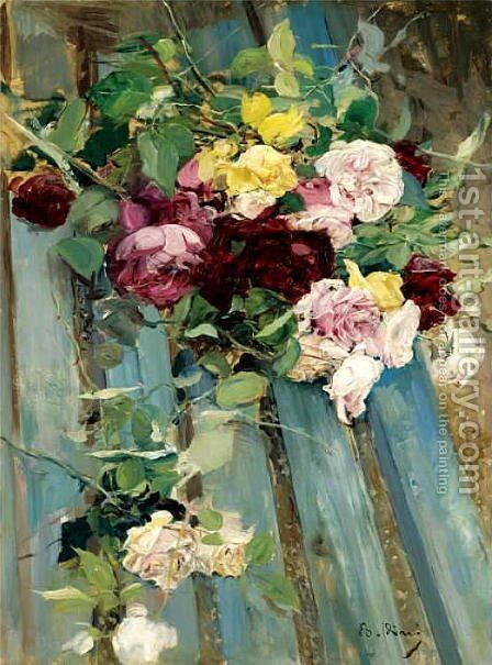 Natura Morta Con Rose by Giovanni Boldini - Reproduction Oil Painting