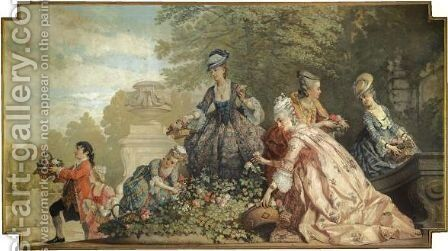 Arranging The Flowers by Cesare Felix dell' Acqua - Reproduction Oil Painting
