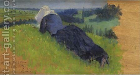 Paysanne Etendue Dans L'Herbe by Henri Edmond Cross - Reproduction Oil Painting