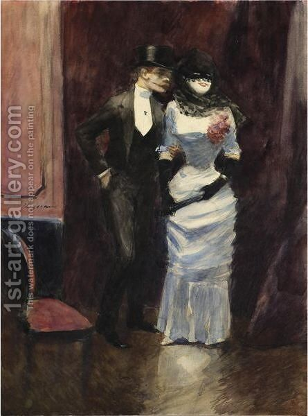 Au Bal Masque by Jean-Louis Forain - Reproduction Oil Painting