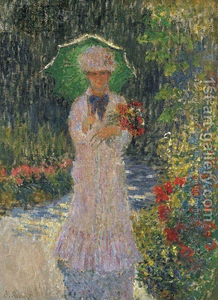 Camille A L'Ombrelle Verte by Claude Oscar Monet - Reproduction Oil Painting