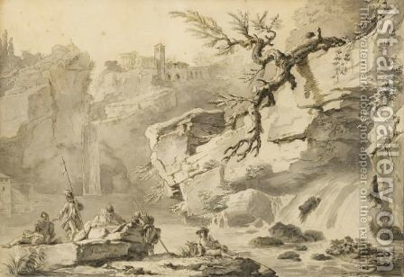 View Of Tivoli With Soldiers by Claude-joseph Vernet - Reproduction Oil Painting
