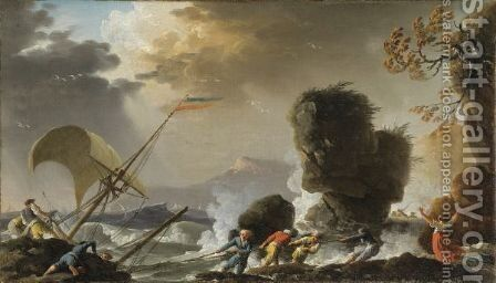 Scene Of Rescue by Charles Francois Lacroix de Marseille - Reproduction Oil Painting