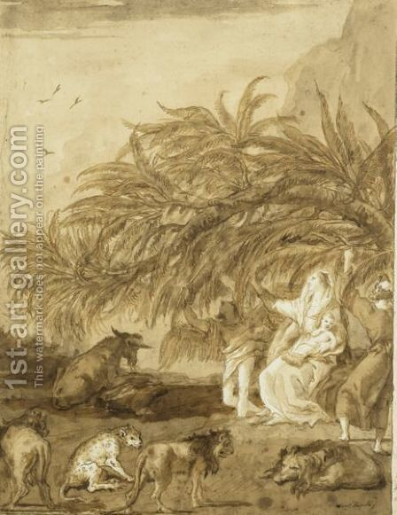 The Holy Family And The Miracle Of The Palm Tree by Giovanni Domenico Tiepolo - Reproduction Oil Painting