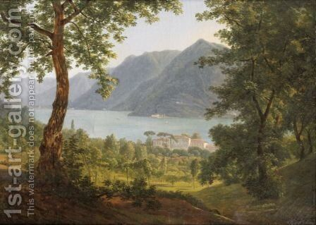 View Of The Lake Of Como by Alexandre-Louis-Robert-Millin Duperreux - Reproduction Oil Painting