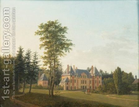 Walking In The Park Of A Castle by Ecole Francaise - Reproduction Oil Painting