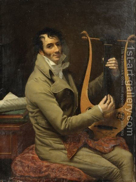 Portrait Of Jean Dominique Fabry Garat Playing Lyre by Adele Romany - Reproduction Oil Painting