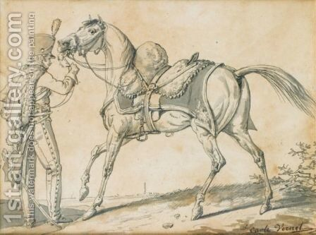 Hussar And His Horse by Carle Vernet - Reproduction Oil Painting
