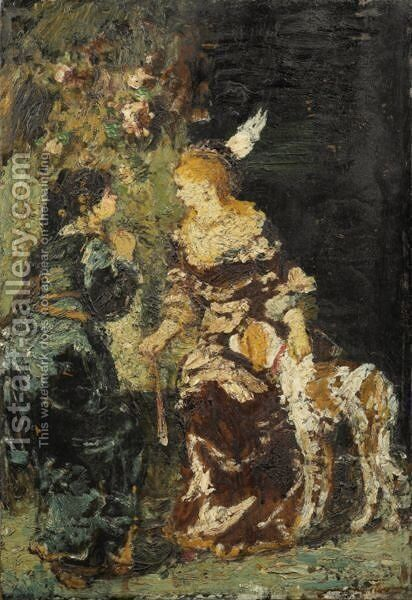Two Women With A Dog by Adolphe Joseph Thomas Monticelli - Reproduction Oil Painting