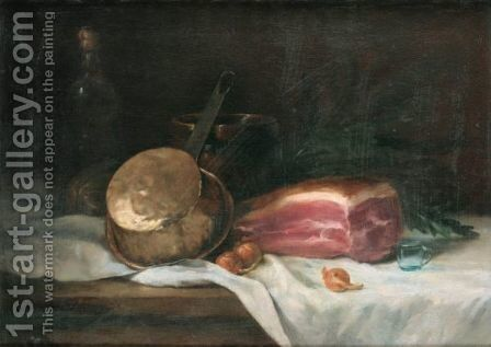 Still Life With Ham by Antoine Vollon - Reproduction Oil Painting