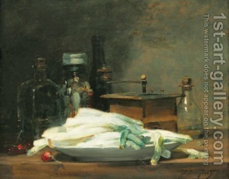 Still Life With Asparagus by Denis Pierre Bergeret - Reproduction Oil Painting