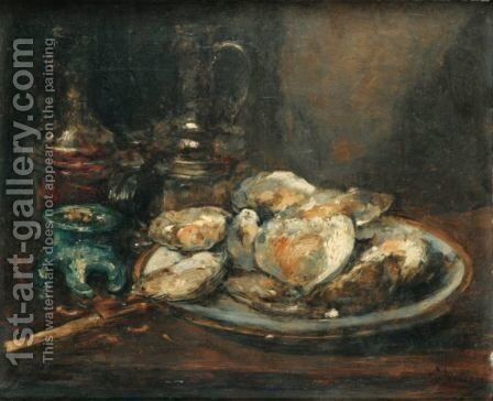 Still Life With Oysters by Antoine Vollon - Reproduction Oil Painting