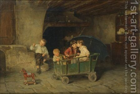 Children Playing by Charles Bertrand D'entraygues - Reproduction Oil Painting