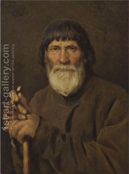 Russian Muzhik by (after) Ilya Sergeevich Galkin - Reproduction Oil Painting