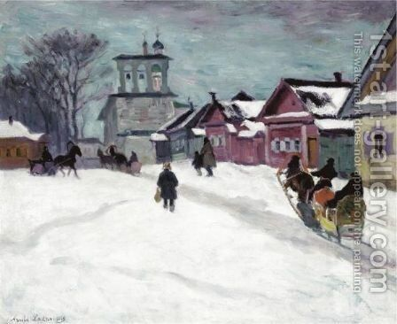 Russian Village In Winter by Arnold Borisovich Lakhovsky - Reproduction Oil Painting