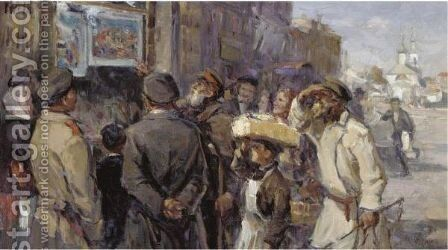 In Front Of The Newspaper Kiosk by Mikhail Vassilievich Boskin - Reproduction Oil Painting