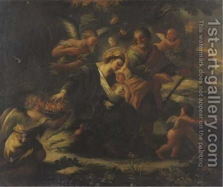 Rest On The Flight Into Egypt by (after) Luca Giordano - Reproduction Oil Painting
