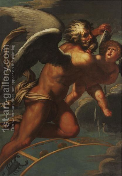Time Plucking The Wings Of Eros by (after) (Giovanni Antonio De' Sacchis) Pordenone - Reproduction Oil Painting