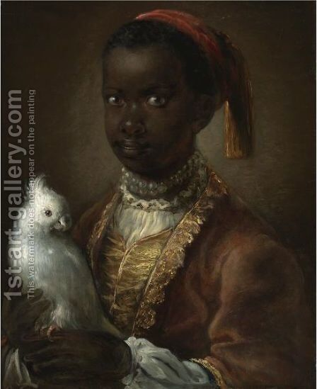 Portrait Of A Black Page With A White Parrot by (after) Pesne, Antoine - Reproduction Oil Painting