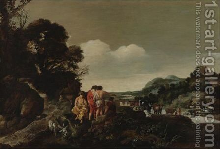 Landscape With Herdsmen And Animals By A Stream by Moyses or Moses Matheusz. van Uyttenbroeck - Reproduction Oil Painting