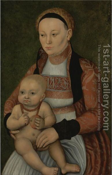 Portrait Of A Mother And Child by (after) Lucas The Elder Cranach - Reproduction Oil Painting