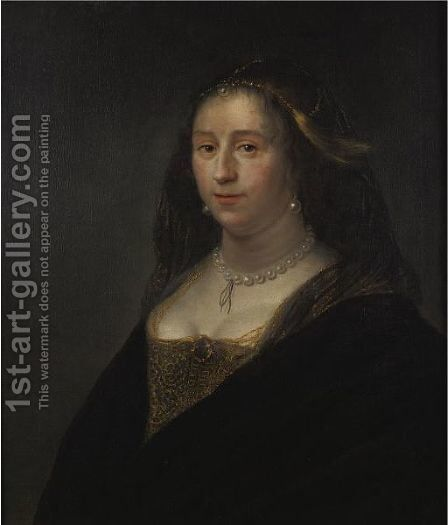 Portrait Of A Woman Wearing A Pearl Necklace by David de Koninck - Reproduction Oil Painting