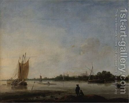 View Of A River With Boats And Figures And A Town In The Distance by (after) Hendrick Dubbels - Reproduction Oil Painting