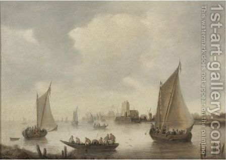 River Landscape With A Town In The Distance by (after)  Jan Van Goyen - Reproduction Oil Painting