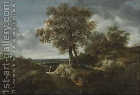 Landscape With Travelers And A Village In A Distance by (after) Jacob Van Ruisdael - Reproduction Oil Painting