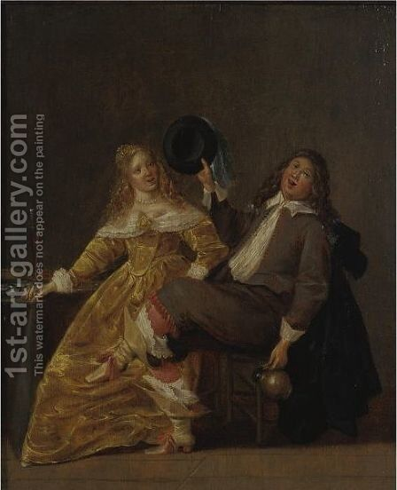 An Elegant Couple Drinking In An Interior by (after) Dirck Hals - Reproduction Oil Painting