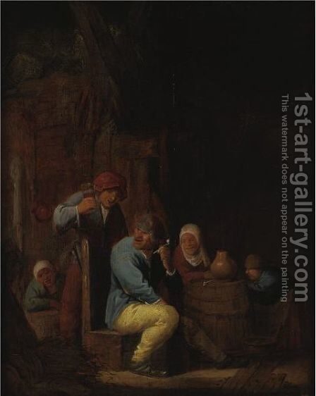 Peasants Drinking And Smoking In A Tavern by (after) Isaack Jansz. Van Ostade - Reproduction Oil Painting