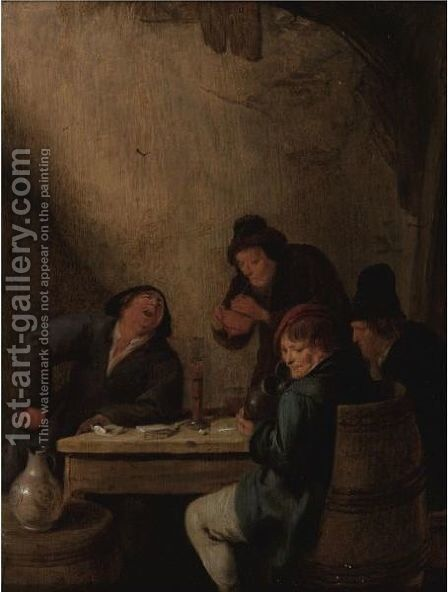 Peasants Drinking In A Tavern by Jan Miense Molenaer - Reproduction Oil Painting
