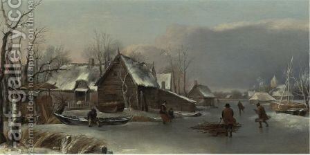 A Winter Landscape With Figures On A Frozen Inlet by (after) Hendrick Dubbels - Reproduction Oil Painting