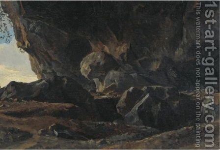 The Grotto At Vicovaro by Simon-Joseph-Alexandre-Clement Denis - Reproduction Oil Painting