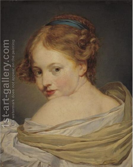 Portrait Of A Young Woman by (after) Greuze, Jean Baptiste - Reproduction Oil Painting