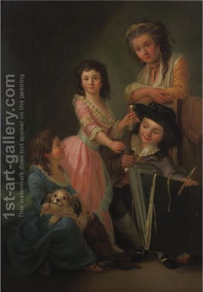 Portrait Of A Mother And Her Three Children by (after) Antoine Vestier - Reproduction Oil Painting
