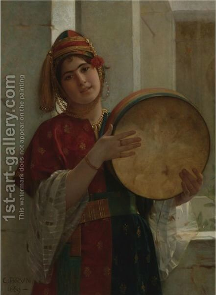 The Tambourine Player by Guillaume Charles Le Brun - Reproduction Oil Painting