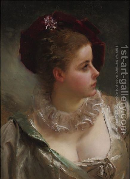 Young Beauty With Red Hat by Gustave Jean Jacquet - Reproduction Oil Painting