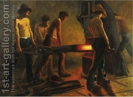 The Iron Workers by Italian School - Reproduction Oil Painting